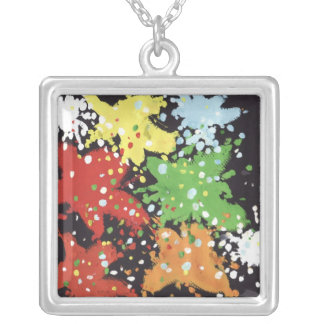 Silver paint pendant (square)