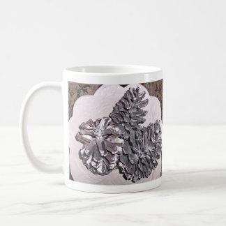 Silver painted pine cones coffee mug