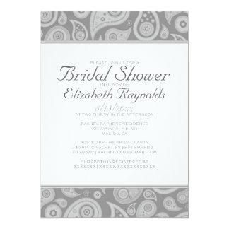 Silver Paisley Bridal Shower Invitations
