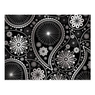 Silver paisley pattern postcard