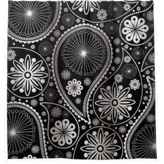 Silver paisley pattern shower curtain