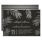 Silver Palm Leaves | Tropical Destination Wedding Card