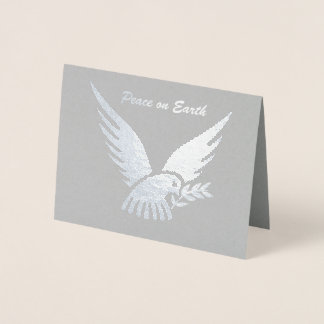 Silver Peace on Earth Dove with Olive Branch Foil Card