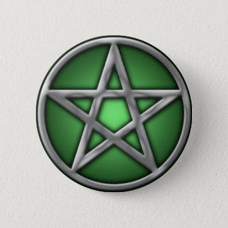Silver Pentacle on Green 6 Cm Round Badge