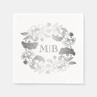 Silver Peonies - Floral Wreath Garden Wedding Paper Napkin