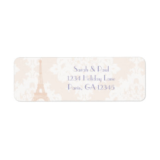 Silver Peony Damask Lavender  Vintage Eiffel Tower Return Address Label