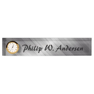 Silver Personalise Nameplate With Clock