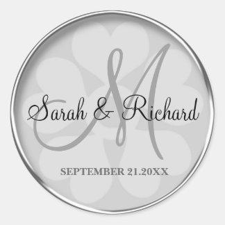 Silver Personalised Monogrammed Wedding Seal Round Sticker