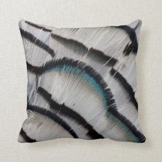 Silver Pheasant Feather Design Cushion