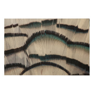 Silver Pheasant feathers Wood Wall Art