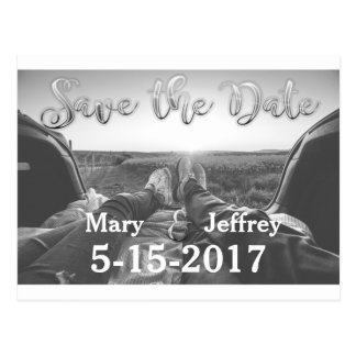 Silver Photo Save the Date Postcard