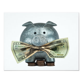 Silver Piggy Bank Eating Money Card