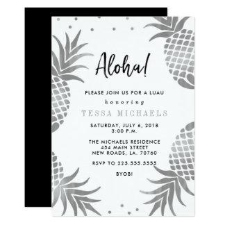 Silver Pineapple Luau Party Invitations