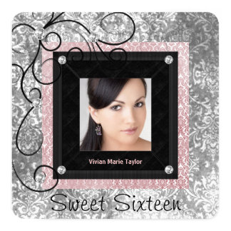 "Silver Pink and Black Damask Sweet 16 5.25"" Square Invitation Card"