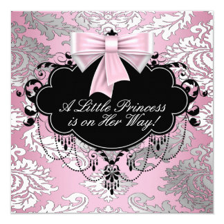 Silver Pink and Black Princess Baby Girl Shower 13 Cm X 13 Cm Square Invitation Card