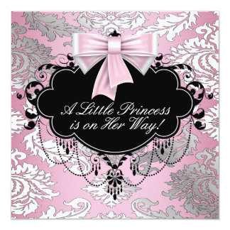 Silver Pink and Black Princess Baby Girl Shower Invite
