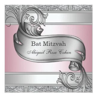Silver Pink Bat Mitzvah 13 Cm X 13 Cm Square Invitation Card