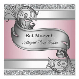 Silver Pink Bat Mitzvah Announcement