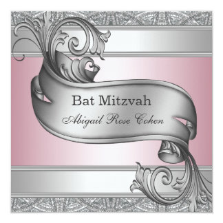 Silver Pink Bat Mitzvah Announcement