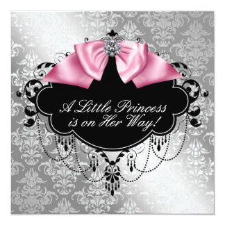 Silver Pink Black Princess Baby Girl Shower 13 Cm X 13 Cm Square Invitation Card