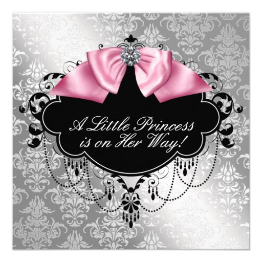 Silver Pink Black Princess Baby Girl Shower Announcements