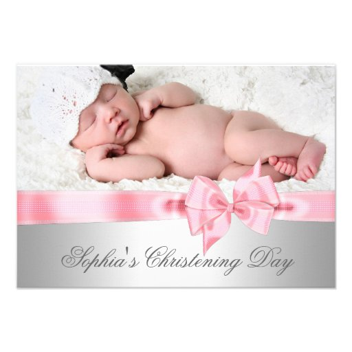 Silver Pink Damask Bow Girl Photo Christening Personalized Invitations