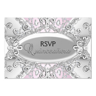 Silver & Pink Diamond Damask Quinceanera RSVP 9 Cm X 13 Cm Invitation Card