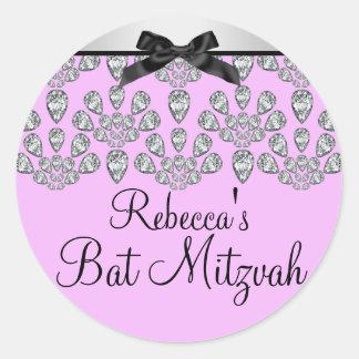 Silver & Pink Forever Diamonds Bat Mitzvah Sticker