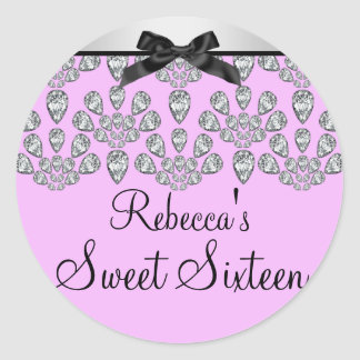 Silver & Pink Forever Diamonds Sweet 16 Sticker