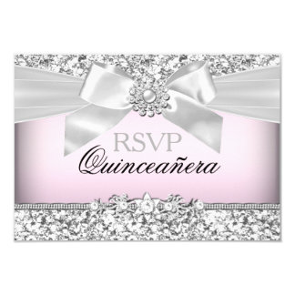 Silver Pink Glitter & Jewel Bow Quinceanera RSVP 9 Cm X 13 Cm Invitation Card