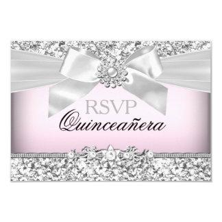 Silver Pink Glitter & Jewel Bow Quinceanera RSVP 9 Cm X 13 Cm Invitation Card