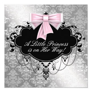 Silver Pink Princess Baby Shower 13 Cm X 13 Cm Square Invitation Card