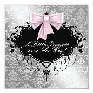 Silver Pink Princess Baby Shower Custom Invites