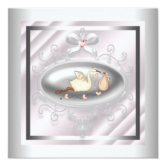 Silver Pink Stork Baby Girl Shower 13 Cm X 13 Cm Square Invitation Card