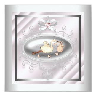 Silver Pink Stork Baby Girl Shower Card