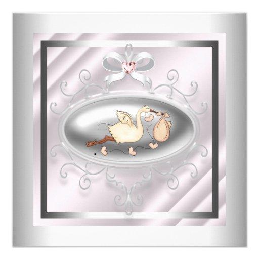 Silver Pink Stork Baby Girl Shower Custom Invitation