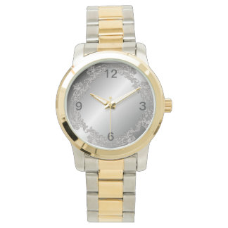 silver-plated design watch