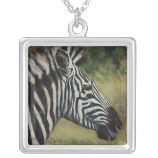 Silver-Plated Large Square Zebra Necklace