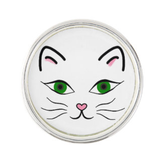 Silver Plated Round Lapel Pin - Kitty Face