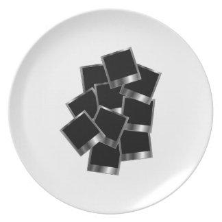 Silver polaroids dinner plates