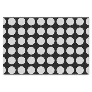 Silver Polka Dots Black Tissue Paper