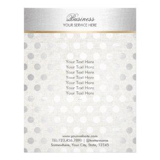 Silver Polka Dots Classy Linen Salon Spa Brochures 21.5 Cm X 28 Cm Flyer