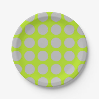 Silver Polka Dots Lime Green Paper Plate