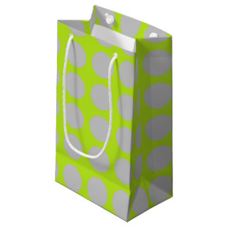 Silver Polka Dots Lime Green Small Gift Bag