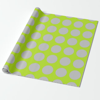 Silver Polka Dots Lime Green Wrapping Paper