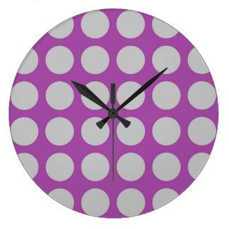 Silver Polka Dots Purple Large Clock