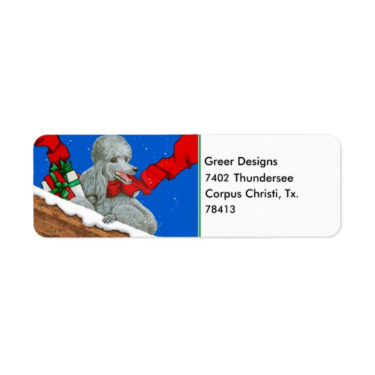 Silver Poodle Christmas Labels Stickers Tags