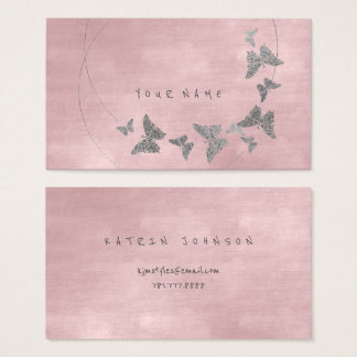 Silver Powder Blush Ballet Pink Butterfly Vip Business Card
