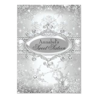 "Silver Princess Winter Wonderland Sweet 16 Invite 4.5"" X 6.25"" Invitation Card"