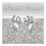 Silver Printed Sequins Bow & Diamond Bridal Shower Custom Announcement